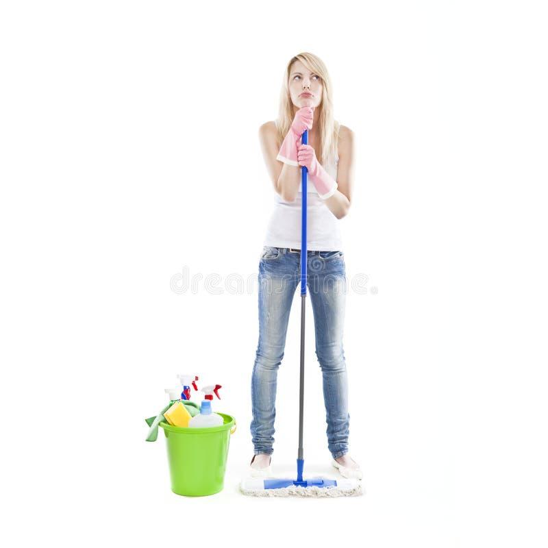 ελκυστικές ξανθές housecleaning νε&om στοκ φωτογραφίες με δικαίωμα ελεύθερης χρήσης