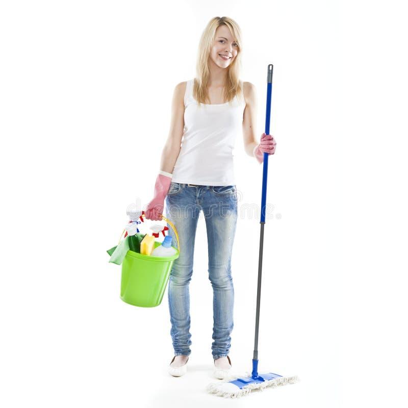ελκυστικές ξανθές housecleaning νε&om στοκ εικόνες