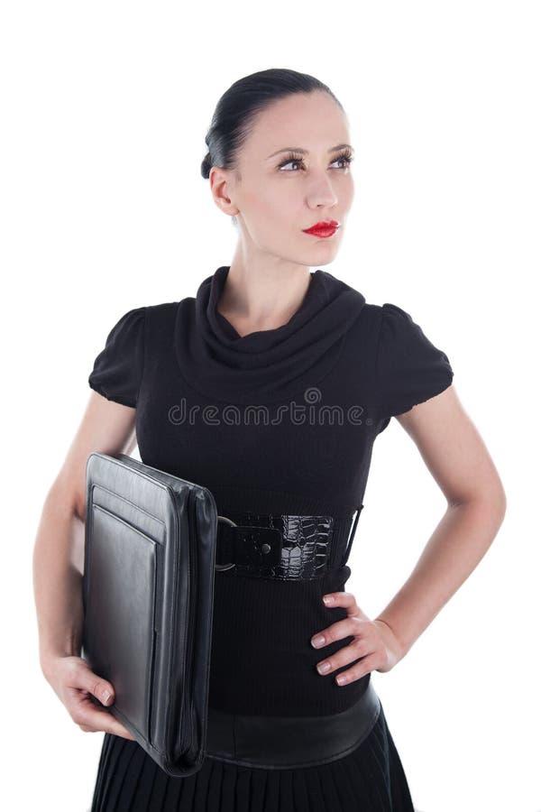 Ελκυστική γυναίκα με την περίπτωση δέρματος στοκ φωτογραφίες