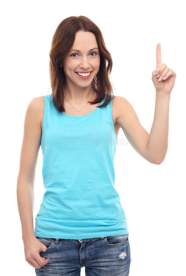 Ελκυστική γυναίκα που δείχνει επάνω στοκ φωτογραφία με δικαίωμα ελεύθερης χρήσης