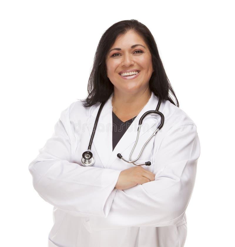 Ελκυστική ισπανική γιατρός ή νοσοκόμα θηλυκών στοκ εικόνες