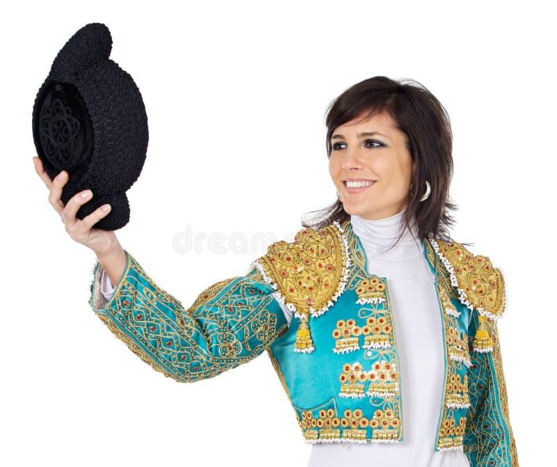 ελκυστική ντυμένη γυναίκα toreador στοκ εικόνα