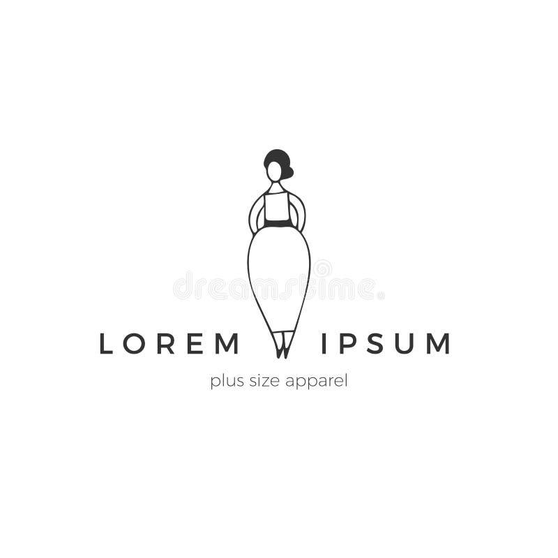Ελκυστική υπέρβαρη γυναίκα σε ένα κομψό φόρεμα Θετικό σώματος, συν την έννοια μεγέθους Συρμένο χέρι διανυσματικό πρότυπο λογότυπω διανυσματική απεικόνιση