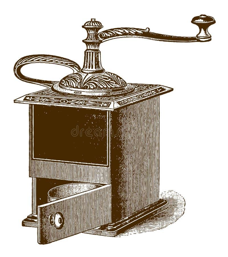 Ελκυστικός ιστορικός μύλοςμύλων coffeeαπεικόνιση αποθεμάτων