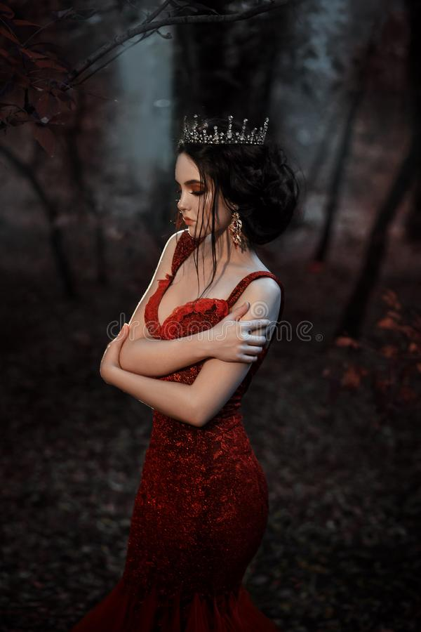 Ελκυστικό κορίτσι σε ένα κόκκινο φόρεμα στοκ φωτογραφία