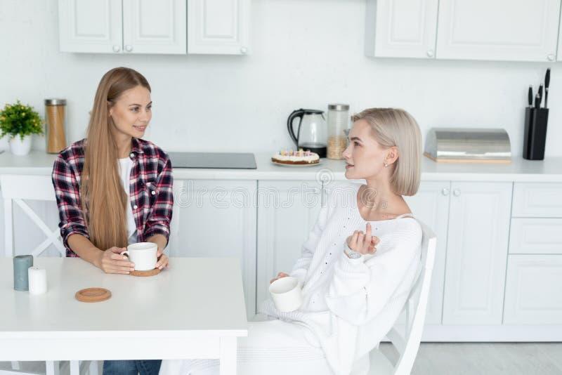 Ελκυστικό λεσβιακό θηλυκό δύο στα περιστασιακά ενδύματα που κάθεται μαζί στον πίνακα στην κουζίνα, που εξετάζει η μια την άλλη στοκ φωτογραφία