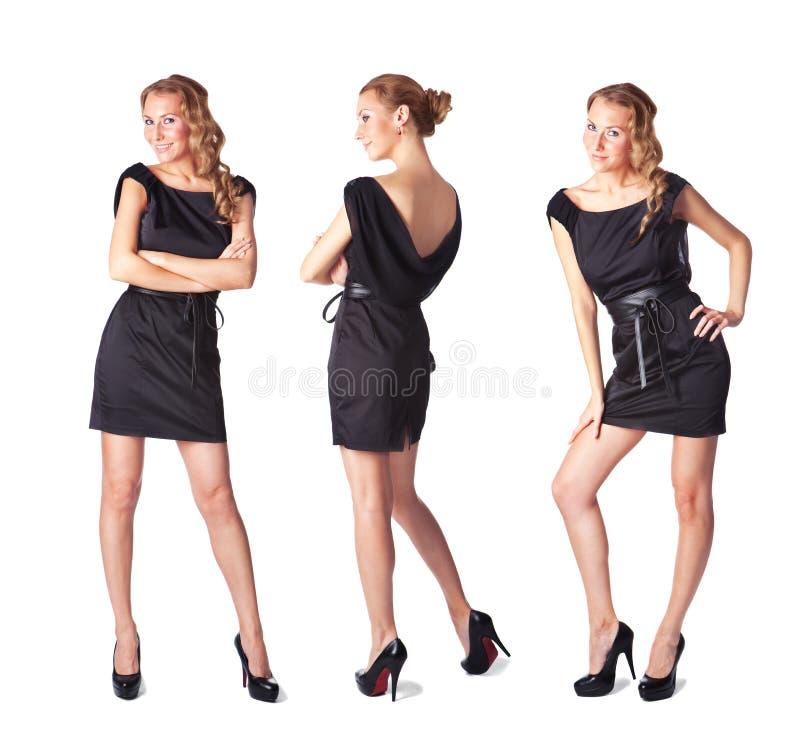 ελκυστικό μαύρο φόρεμα τρία νεολαίες γυναικών στοκ εικόνα με δικαίωμα ελεύθερης χρήσης