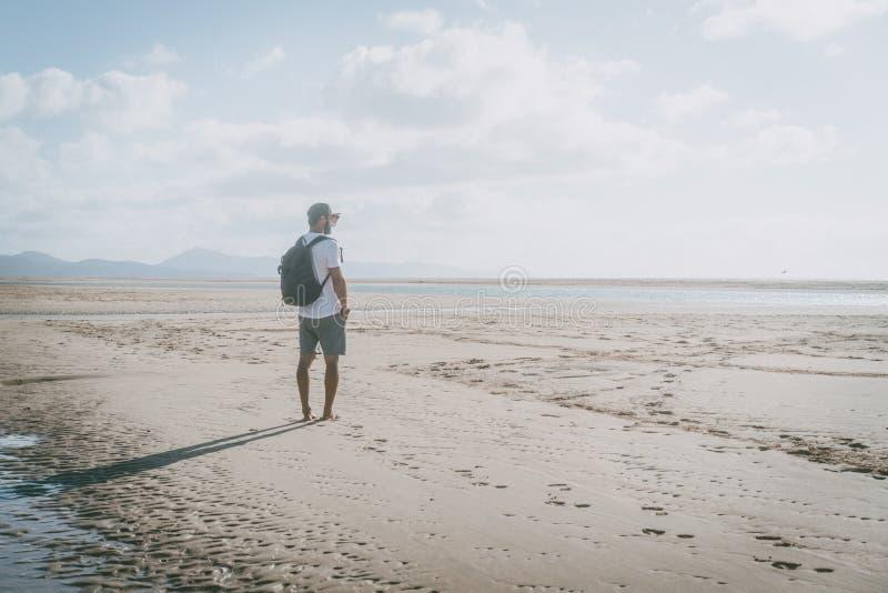 Ελκυστικό μυϊκό γενειοφόρο άτομο που στέκεται στην ακροθαλασσιά στην ανατολή με το σακίδιο πλάτης και που φαίνεται ορίζοντας στοκ φωτογραφία με δικαίωμα ελεύθερης χρήσης
