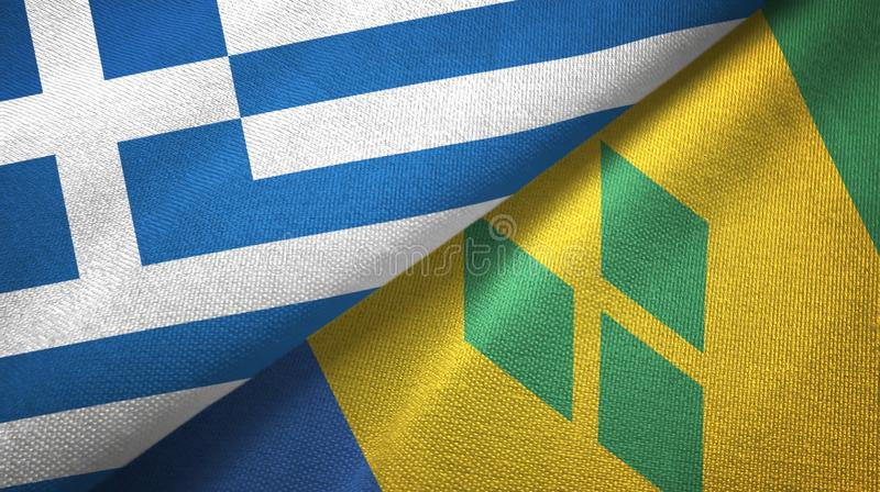 Ελλάδα και Άγιος Βικέντιος και Γρεναδίνες δύο υφαντικό ύφασμα σημαιών διανυσματική απεικόνιση