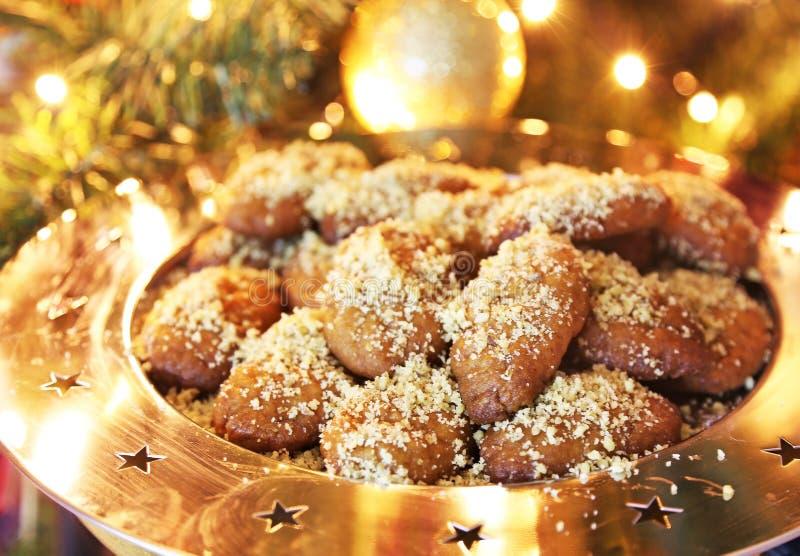 Ελληνικά μπισκότα Χριστουγέννων melomakarona παραδοσιακά στοκ εικόνα