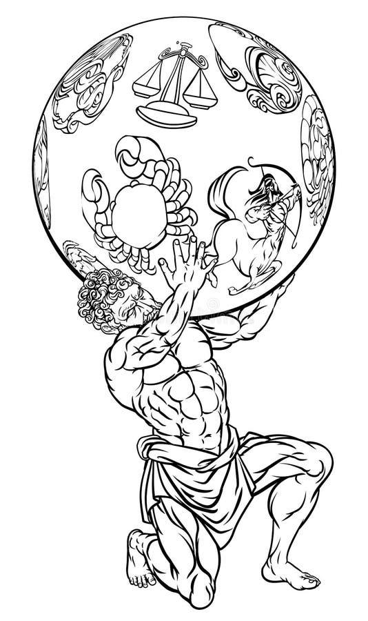 Ελληνική απεικόνιση μυθολογίας ατλάντων απεικόνιση αποθεμάτων
