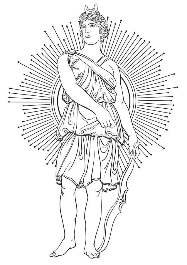 Ελληνική θεά του πολέμου με το τόξο στα βέλη Λαϊκό έργο τέχνης στο ύφος γραμμών Χρωματίζοντας βιβλίο για τους ενηλίκους διανυσματική απεικόνιση