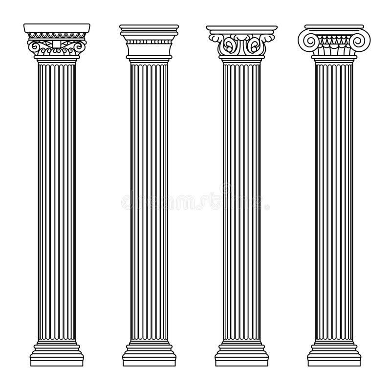 Ελληνική και ρωμαϊκή κλασική πέτρα αρχιτεκτονικής colomns Διανυσματική απεικόνιση περιλήψεων διανυσματική απεικόνιση