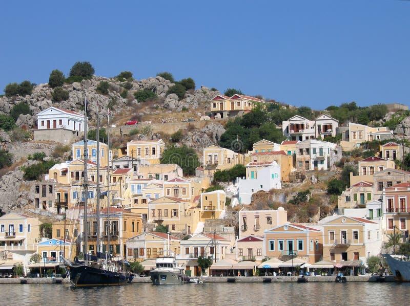 ελληνική λιμενική πόλη στοκ εικόνες