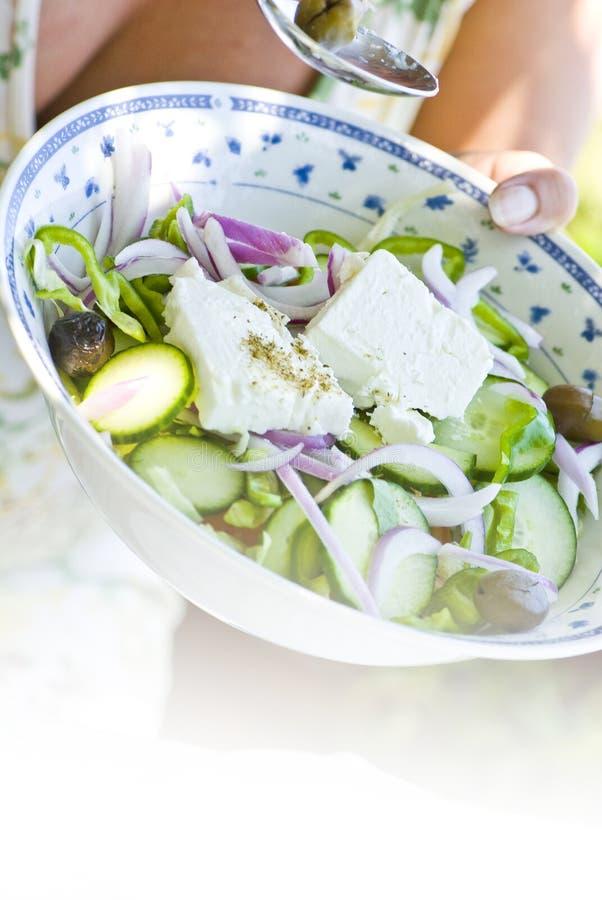 ελληνική σαλάτα παραδο&sigma στοκ εικόνες με δικαίωμα ελεύθερης χρήσης