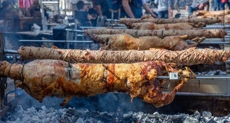 Ελληνική συνήθεια Πάσχας Το Kokoretsi, kokorec και το αρνί, πρόβατα, παιδί που ψήνουν στη σχάρα στους οβελούς πέρα από τους ξυλάν στοκ φωτογραφίες