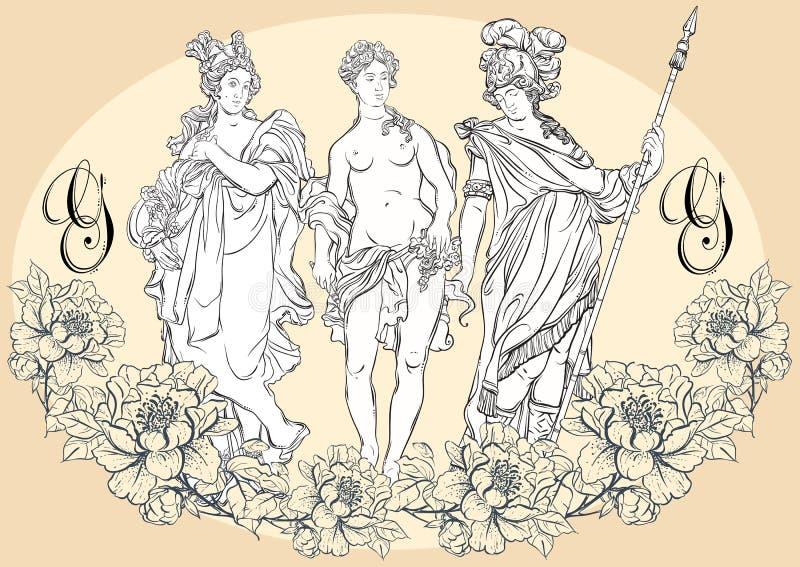 Ελληνικοί Θεοί, οι μυθολογικοί ήρωες της αρχαίας Ελλάδας Hand-drawn όμορφο διανυσματικό έργο τέχνης που απομονώνεται classicism διανυσματική απεικόνιση