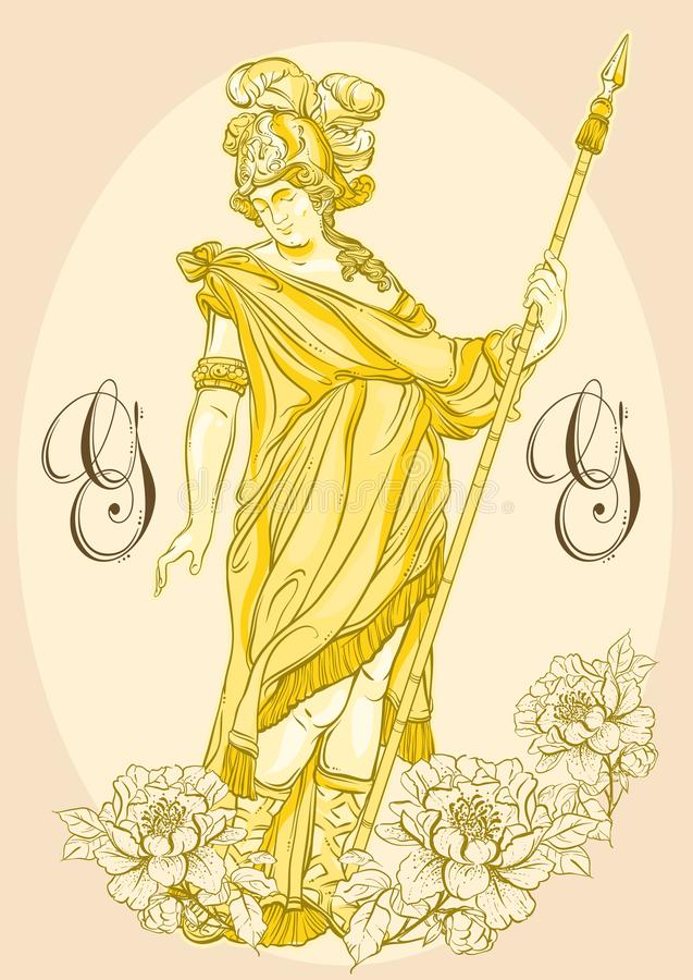 Ελληνικός Θεός, ο μυθολογικός ήρωας της αρχαίας Ελλάδας Hand-drawn όμορφο διανυσματικό έργο τέχνης που απομονώνεται classicism Μύ απεικόνιση αποθεμάτων