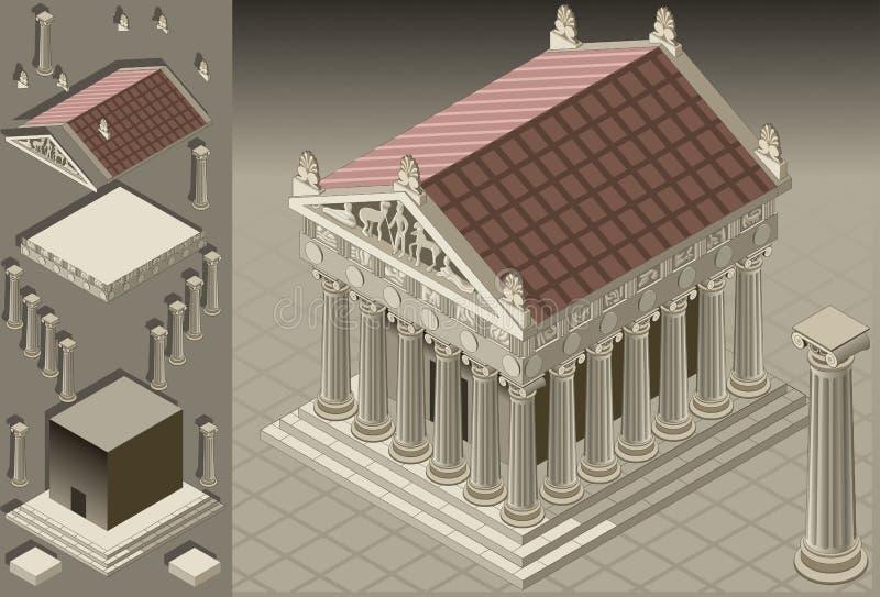 ελληνικός ιοντικός isometric ναό&si απεικόνιση αποθεμάτων