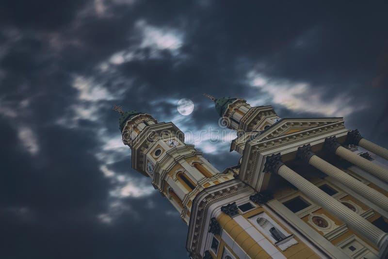 Ελληνικός καθολικός νυχτερινός ουρανός εκκλησιών καθεδρικών ναών με  στοκ εικόνες