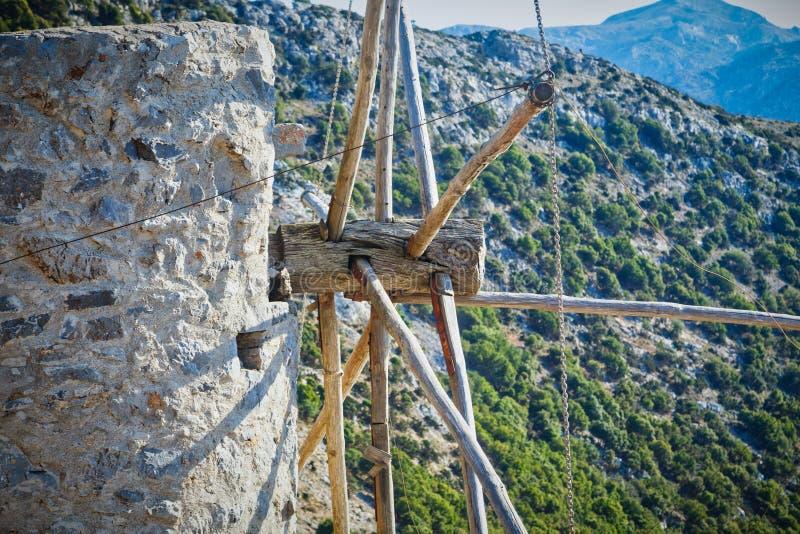 Ελληνικός μύλος, λεπτομερής αποδοχή του ανεμόμυλου κοντά επάνω στοκ εικόνα με δικαίωμα ελεύθερης χρήσης
