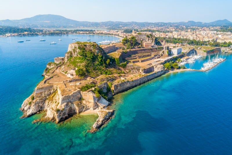 Ελληνικός ναός και παλαιό κάστρο στην Κέρκυρα, Ελλάδα στοκ φωτογραφίες με δικαίωμα ελεύθερης χρήσης
