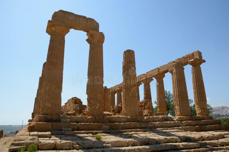 Ελληνικός ναός της Juno Hera σε αρχαίο Akragas Agrigento Σικελία στοκ φωτογραφία