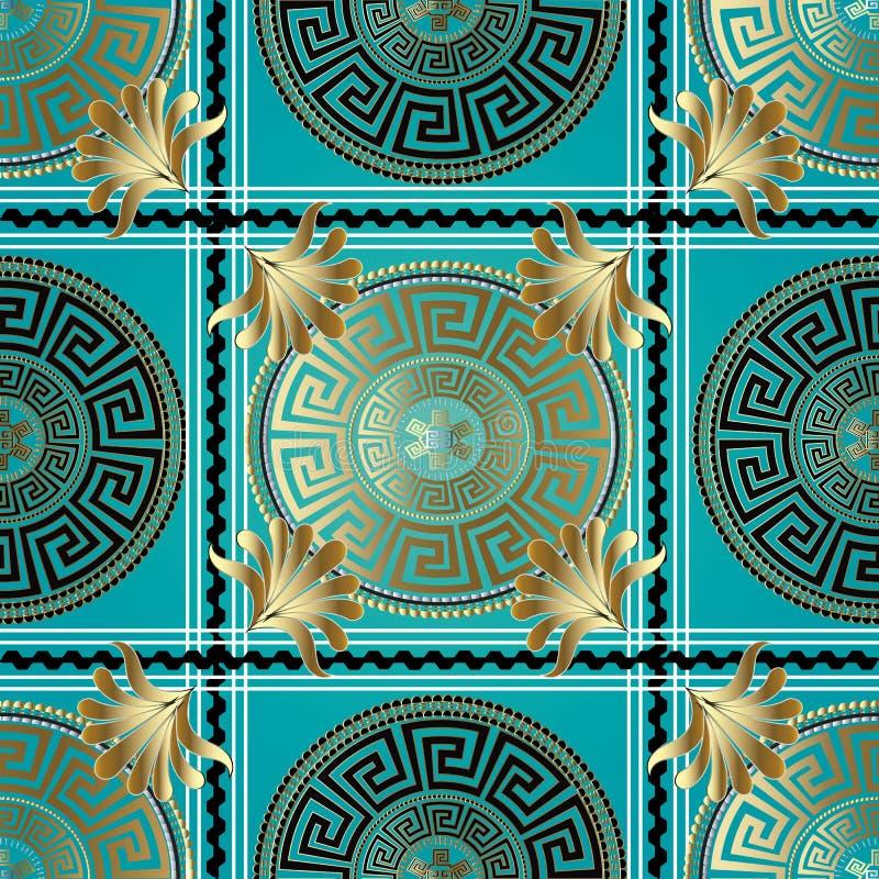 Ελληνικό γεωμετρικό άνευ ραφής σχέδιο ελέγχου Διανυσματικός μαίανδρος backgroun ελεύθερη απεικόνιση δικαιώματος