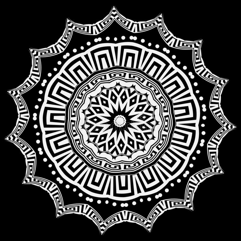Ελληνικό στρογγυλό floral διανυσματικό σχέδιο mandala Γραπτό σχέδιο Ελληνική βασική διακόσμηση κύκλων μαιάνδρων με τις γεωμετρικέ ελεύθερη απεικόνιση δικαιώματος