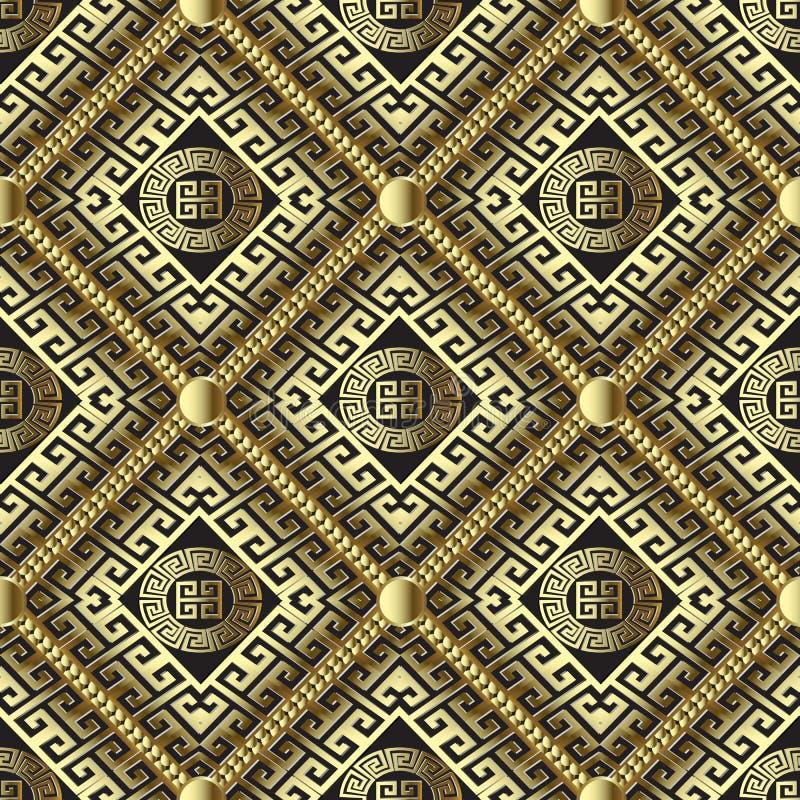 Ελληνικό τρισδιάστατο χρυσό διανυσματικό άνευ ραφής σχέδιο βαφλών Γεμισμένος διακοσμητικός ελεύθερη απεικόνιση δικαιώματος