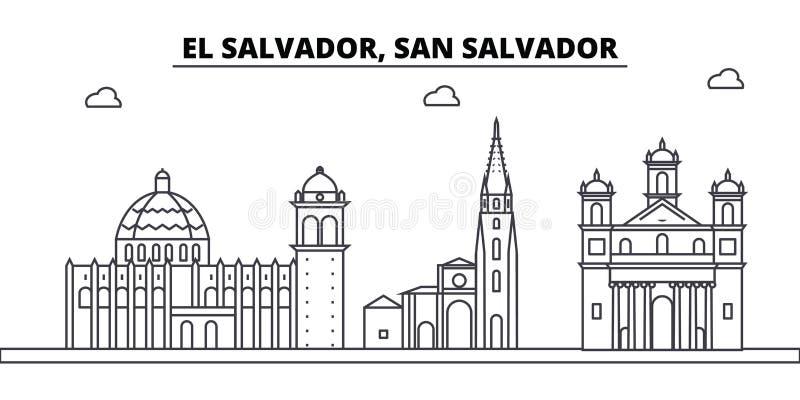 Ελ Σαλβαδόρ, κτήρια οριζόντων αρχιτεκτονικής του Σαν Σαλβαδόρ, σκιαγραφία, τοπίο περιλήψεων, ορόσημα Κτυπήματα Editable ελεύθερη απεικόνιση δικαιώματος