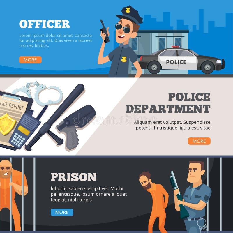 Εμβλήματα αστυνομίας Αστικός αστυνομικός ασφάλειας που στέκεται στην ομοιόμορφη φυλακή και overseer με το διανυσματικό σχέδιο όπλ απεικόνιση αποθεμάτων