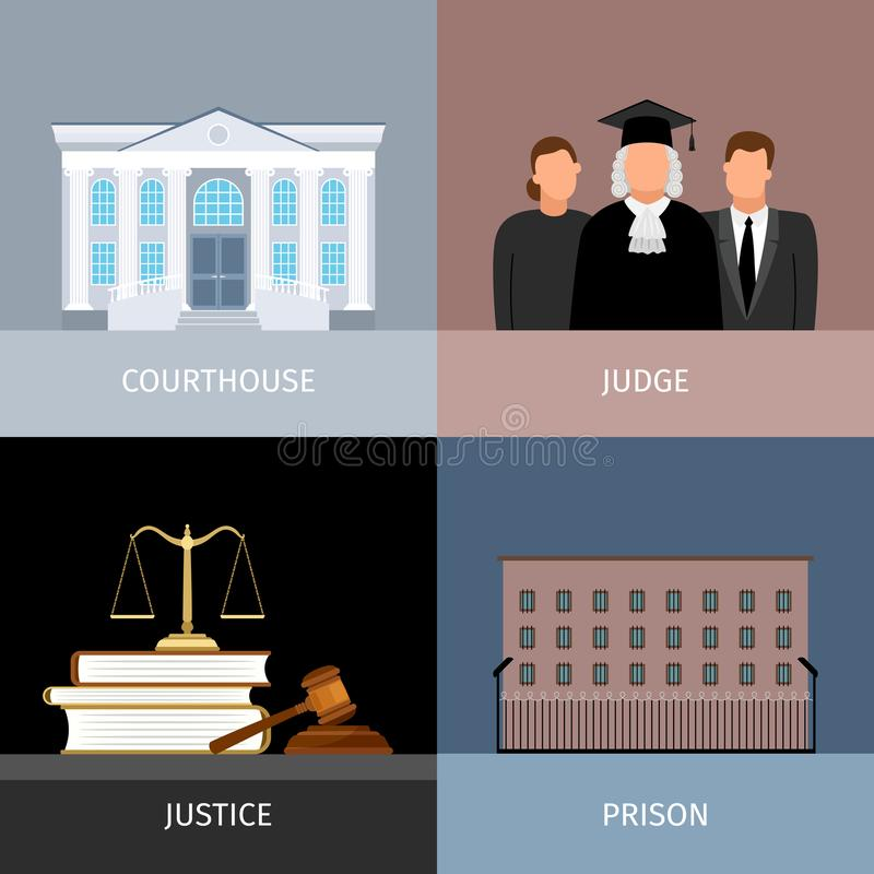 Εμβλήματα δικαιοσύνης καθορισμένα απεικόνιση αποθεμάτων