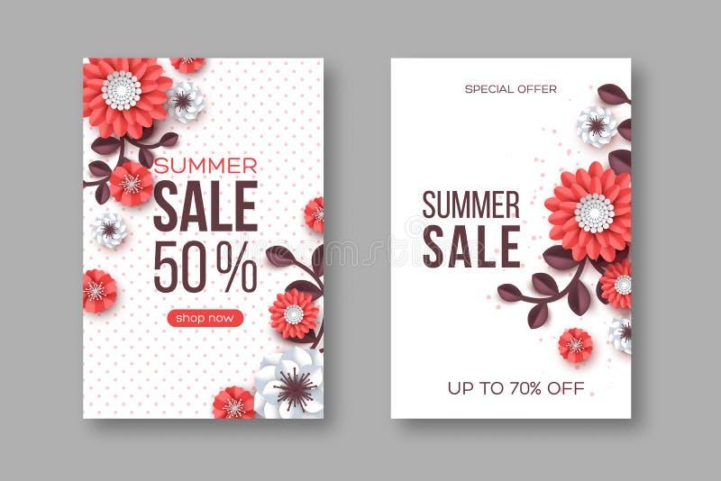 Εμβλήματα θερινής πώλησης με το λουλούδι περικοπών εγγράφου και το διαστιγμένο σχέδιο Πρότυπο για τις εποχιακές εκπτώσεις Άσπρο υ διανυσματική απεικόνιση