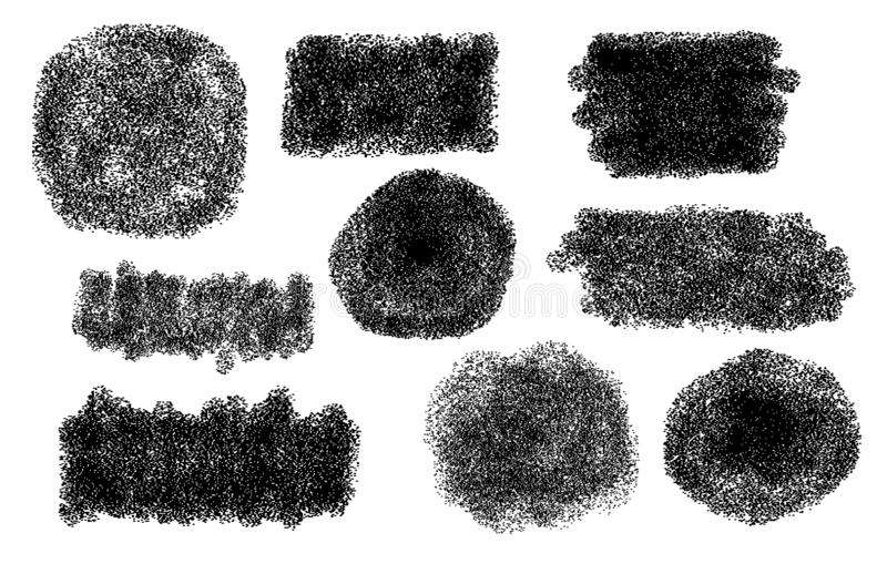 Εμβλήματα κειμένων, λεκτικές φυσαλίδες για το μήνυμα Σημείο Grunge Έμβλημα από τα ψεκασμένα σημεία ημίτονος Βρώμικο καλλιτεχνικό  απεικόνιση αποθεμάτων