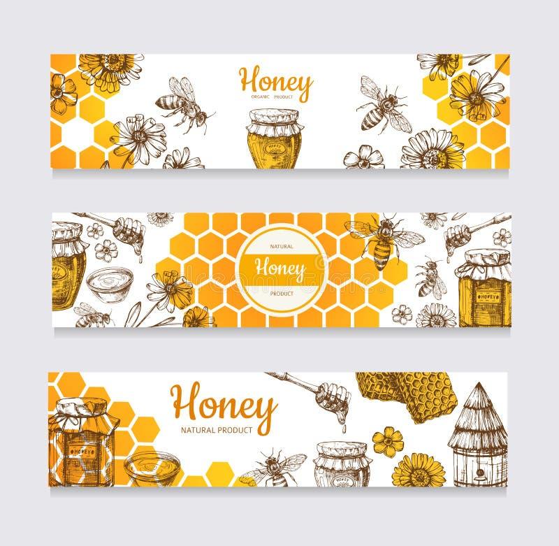 Εμβλήματα μελιού Εκλεκτής ποιότητας συρμένη χέρι μέλισσα και μελίρρυτες διανυσματικές ετικέτες λουλουδιών, κηρηθρών και κυψελών απεικόνιση αποθεμάτων