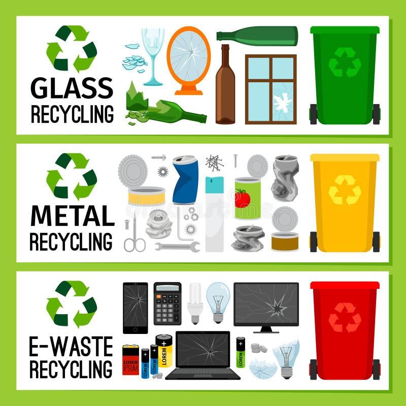 Εμβλήματα με τα γυαλί/μέταλλο απορρίμματα ε-αποβλήτων απεικόνιση αποθεμάτων