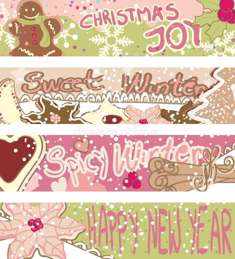 Εμβλήματα με τα μπισκότα Χριστουγέννων διανυσματική απεικόνιση