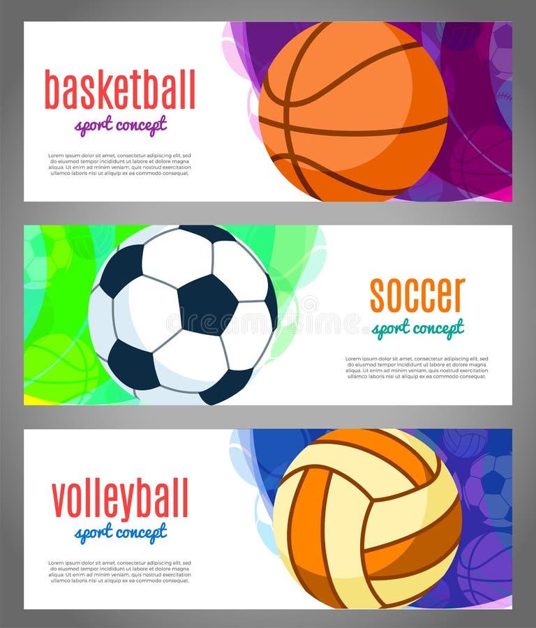 Εμβλήματα με τις αθλητικές σφαίρες - καλαθοσφαίριση, πετοσφαίριση, ποδόσφαιρο Αθλητικά πρωταθλήματα στην καλαθοσφαίριση, πετοσφαί απεικόνιση αποθεμάτων