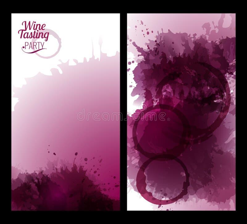Εμβλήματα με τους λεκέδες κρασιού υποβάθρου διανυσματική απεικόνιση