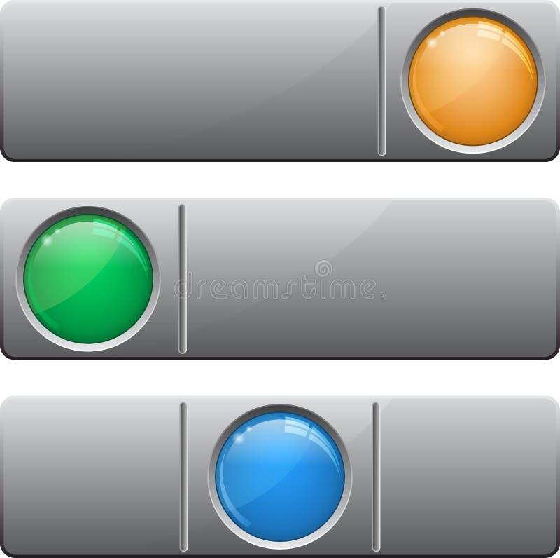 Εμβλήματα με το κουμπί γυαλιού διανυσματική απεικόνιση