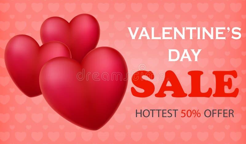 Εμβλήματα πώλησης ημέρας βαλεντίνων ` s με τα τρισδιάστατα καρδιά-διαμορφωμένα μπαλόνια ελεύθερη απεικόνιση δικαιώματος