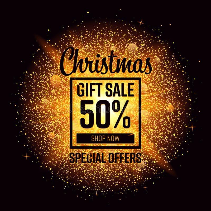 Εμβλήματα πώλησης Χριστουγέννων με τη χρυσή έκρηξη σπινθήρων Για τη χρήση - σημάδι, ιπτάμενο, αφίσα, αγορές, έκπτωση και Ιστός πώ διανυσματική απεικόνιση
