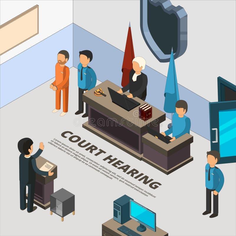 Εμβλήματα συνεδρίασης δικαστηρίου Διαδικασία νόμου στο δικαστικό κατηγορουμένων αστυνομίας και εγκλήματος διάνυσμα συμβόλων ερώτη απεικόνιση αποθεμάτων