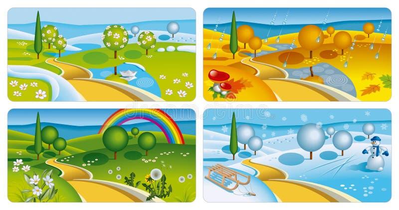 εμβλήματα τέσσερις εποχέ& διανυσματική απεικόνιση