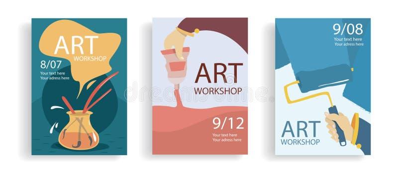 Εμβλήματα τέχνης Έκθεση, μαθήματα τέχνης, αγορά r Χέρια κινούμενων σχεδίων με το πλαίσιο, τσάντα με τις βούρτσες και τους καλλιτέ απεικόνιση αποθεμάτων