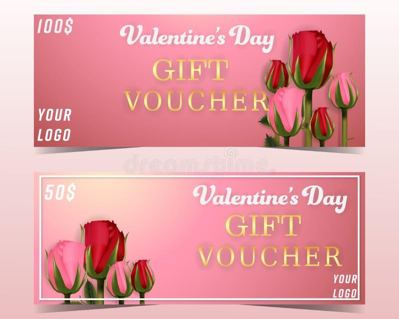 Εμβλήματα υποβάθρου αποδείξεων δώρων ημέρας βαλεντίνου που τίθενται με τα τριαντάφυλλα και τη χλόη ταπετσαρία, πρόσκληση, αφίσες, ελεύθερη απεικόνιση δικαιώματος