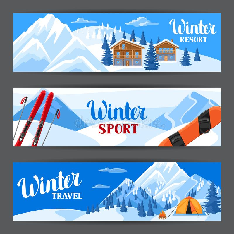 Εμβλήματα χειμερινών χιονοδρομικών κέντρων Όμορφο τοπίο με τα αλπικά σπίτια σαλέ, το σνόουμπορντ, τα χιονώδη βουνά και το δάσος έ ελεύθερη απεικόνιση δικαιώματος