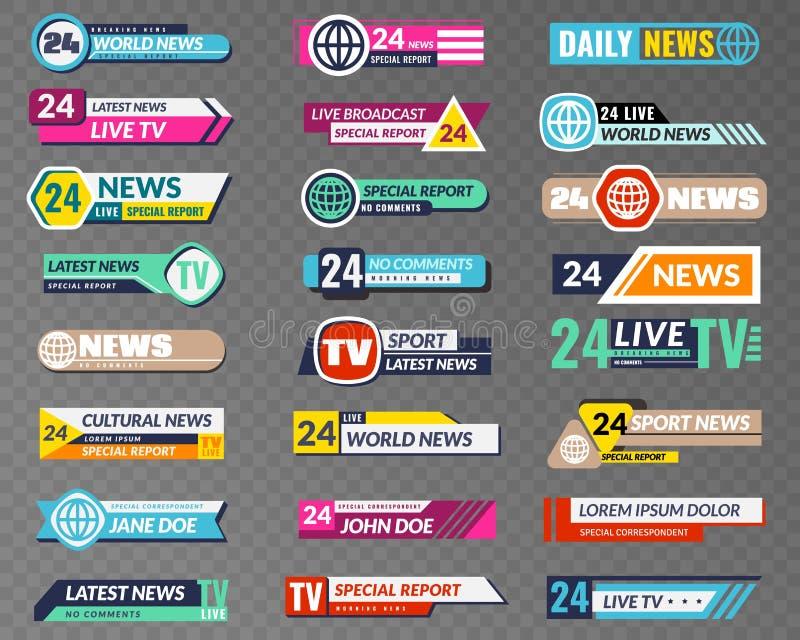 Εμβλήματα TV Γραφική διεπαφή ραδιοφωνικής αναμετάδοσης, TV τίτλος φραγμών ροής χαμηλότερος Διάνυσμα επιγραφών οθόνης τηλεοπτικών  ελεύθερη απεικόνιση δικαιώματος