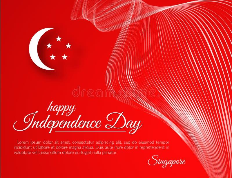 Εμβλημάτων ευτυχείς ημέρας της ανεξαρτησίας καμμμένες η Σιγκαπούρη γραμμές κυματοειδούς σχεδίων άσπρες σε ένα κόκκινο υπόβαθρο εο απεικόνιση αποθεμάτων